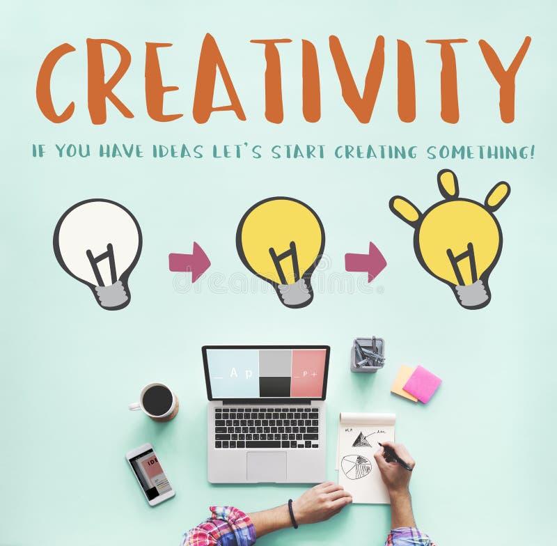 De creativiteit leidt tot het Grafische Concept van de Verlichtingsbol royalty-vrije stock afbeeldingen