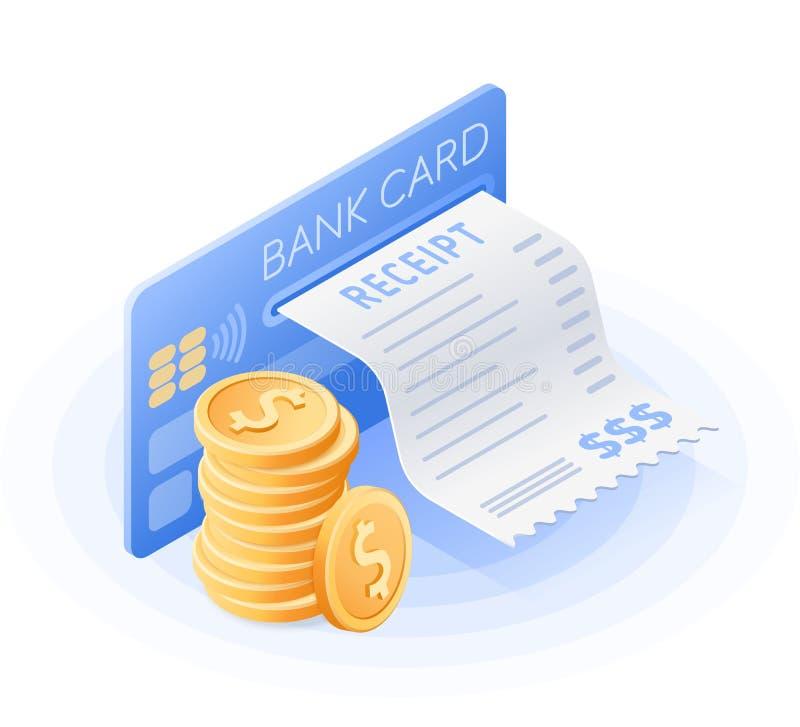 De creditcard, online rekeningsbetaling, stapel muntstukken royalty-vrije illustratie