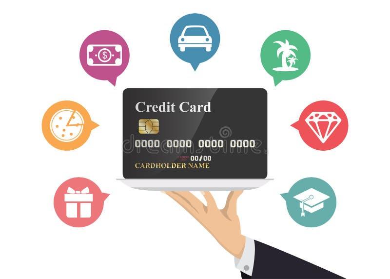 De creditcard van de handholding in zilveren dienblad met pictogram Illustratie over het besteden en betaling royalty-vrije illustratie