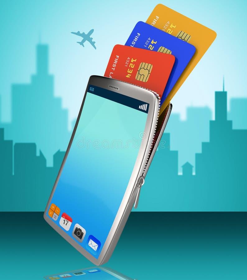 De Creditcard wijst online op World Wide Web en Bankwezen stock illustratie