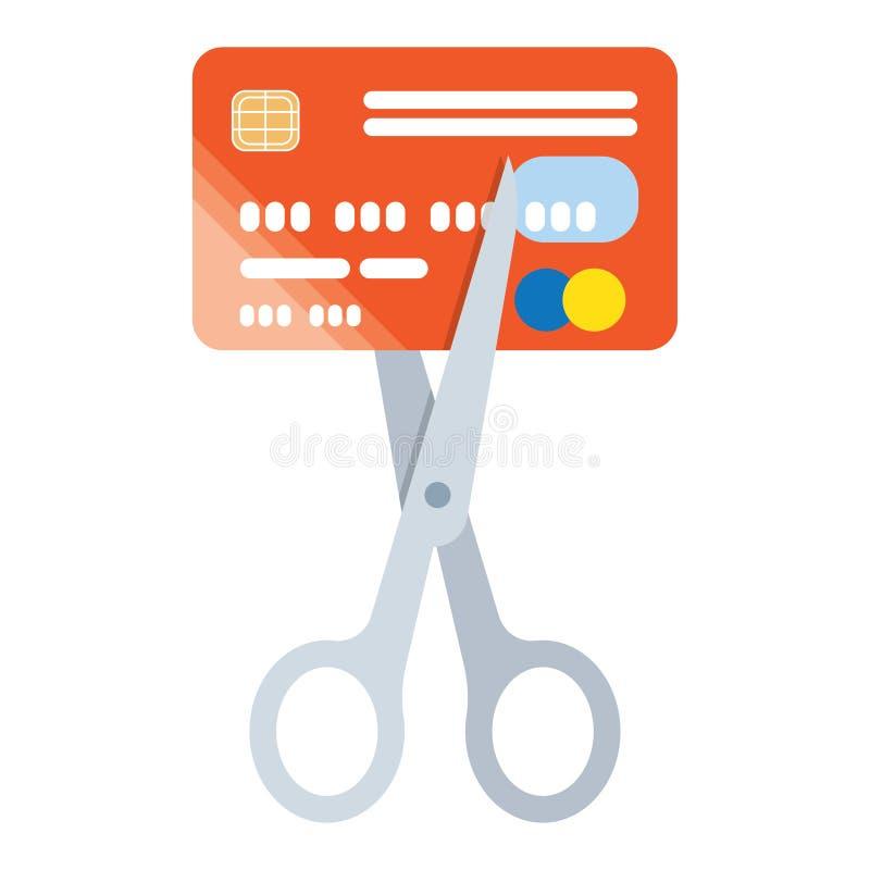 De creditcardpictogram van de schaarbesnoeiing vector illustratie