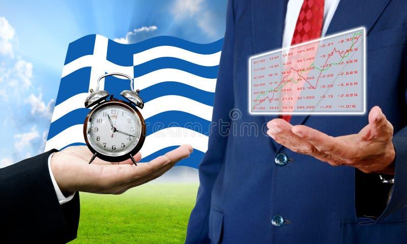 De crediteur toont tijdslimiet en analysegrafiek, Financiële Crisis stock foto