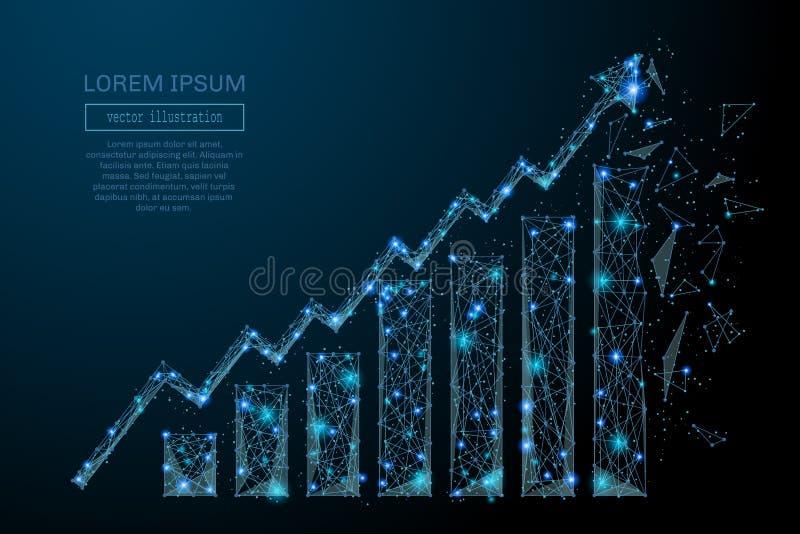 De crescimento da carta azul poli baixo ilustração royalty free