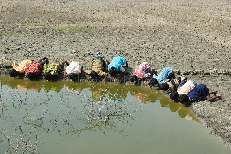 De crisis van het water in sundarban-India. royalty-vrije stock afbeeldingen
