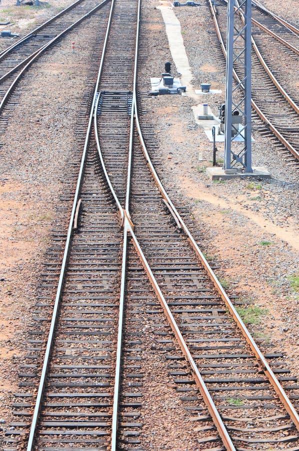 De crossway sporen van de spoorweg stock foto's