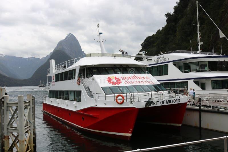 De cruiseboot, Milford-Geluid, bewerkt Piek, NZ in verstek stock fotografie
