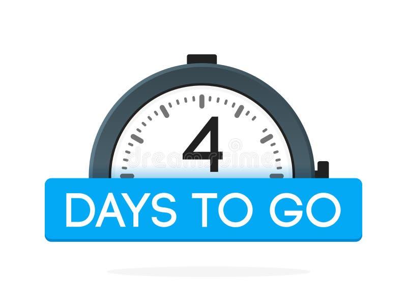 De cuatro días para ir etiqueta, plano del despertador con la cinta azul, icono de la promoción, el mejor illustretion del vector stock de ilustración
