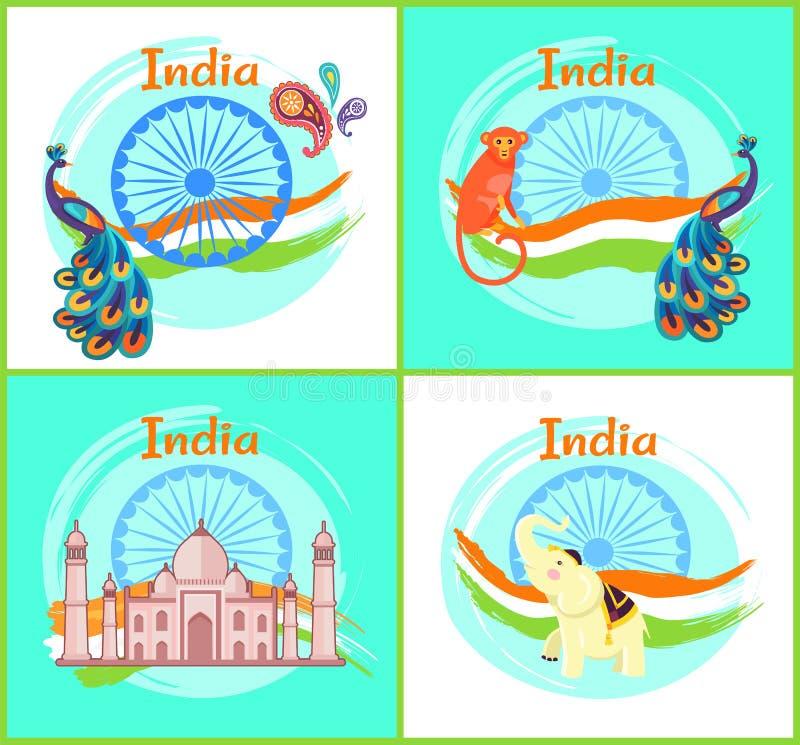 De Culturele Symbolen van India Geplaatst Vectorillustratie vector illustratie