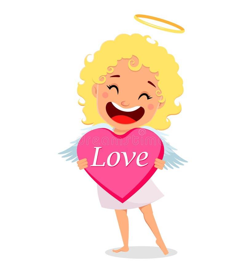 De cupido houdt groot roze hart royalty-vrije illustratie