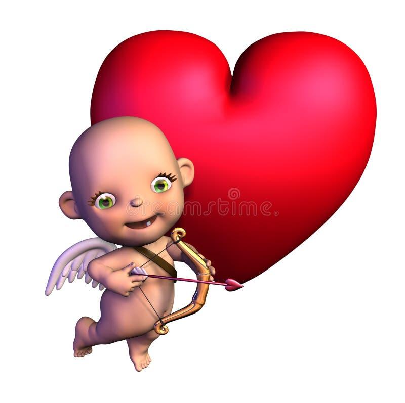 De Cupido van het beeldverhaal met Hart royalty-vrije illustratie
