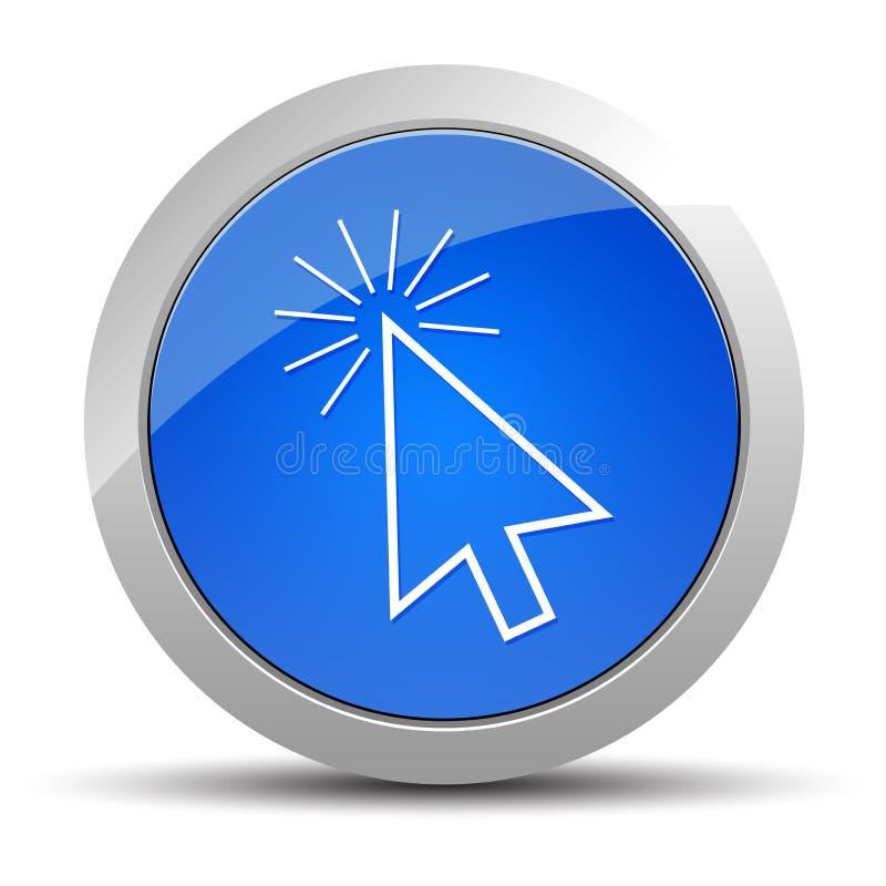 De curseur klikt illustratie van de pictogram de blauwe ronde knoop vector illustratie