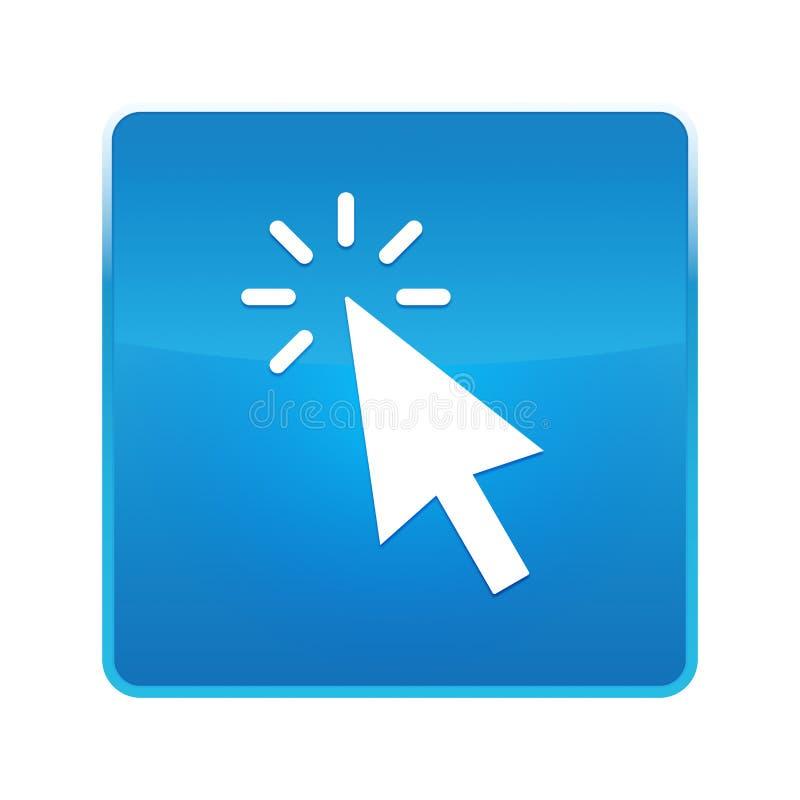 De curseur klikt pictogram glanzende blauwe vierkante knoop royalty-vrije illustratie