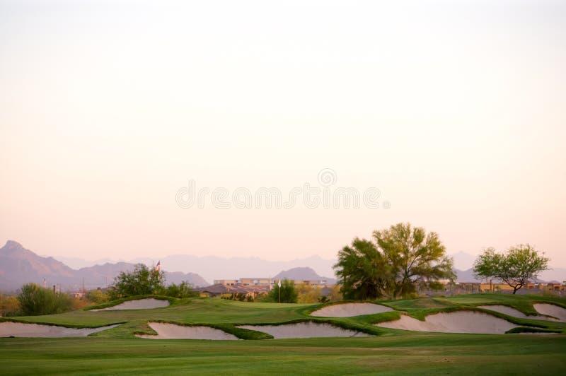 De cursus van het golf in de woestijn van Arizona stock foto