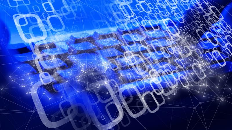 De Cyberaanval die computeralgoritme, lijnen gebruiken verbindt de punten stock foto's