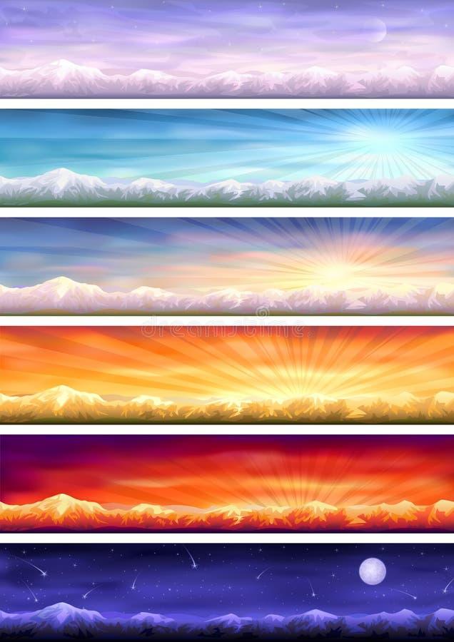 De cyclus van de dag - zes landschappen in verschillende tijd vector illustratie