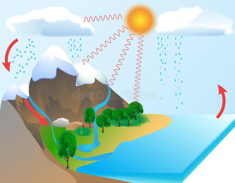 De cyclus van het water stock illustratie