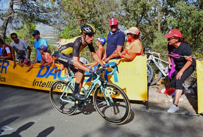 De Cyclusras van Stef Clement Team Lotto Jumbo La Vuelta España royalty-vrije stock foto