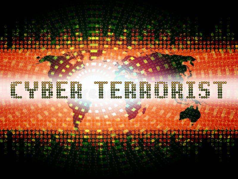 De 2d Illustratie van Extremism Hacking Alert van de Cyberterrorist royalty-vrije illustratie