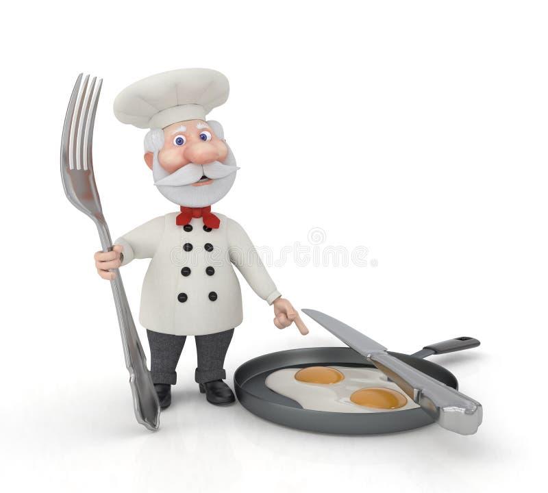De 3D kok met een vork en gebraden eieren. stock illustratie