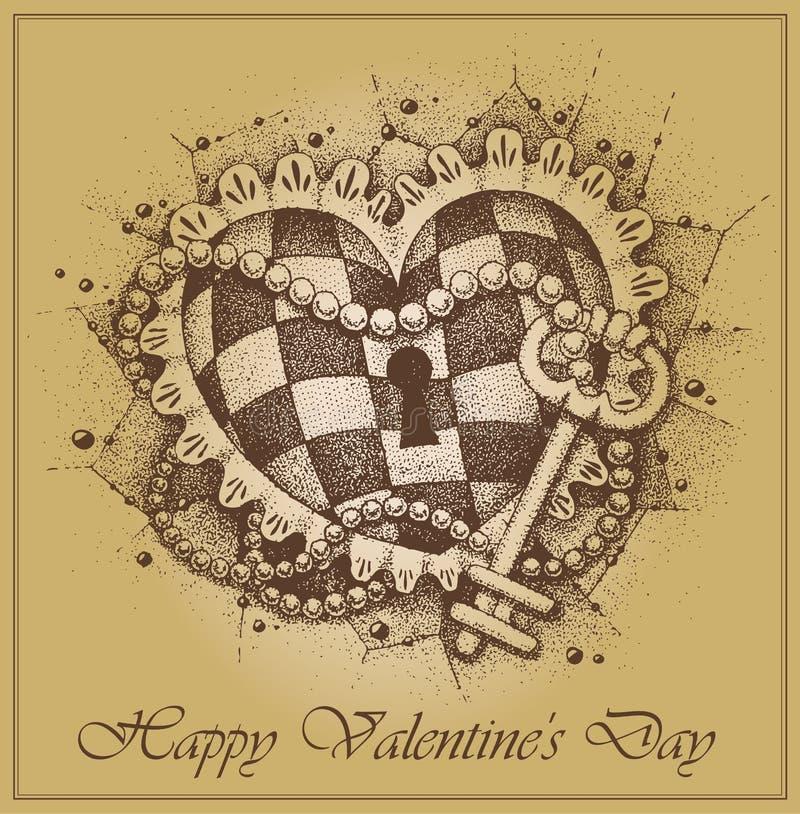 De Dag ?ard van Valentine. Hart met met de hand getrokken sleutel royalty-vrije illustratie