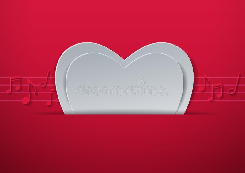 De Dag Abstracte Achtergrond van Valentine met Gesneden Document Hart en Mus stock illustratie