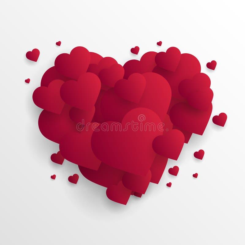 De dag abstracte achtergrond van Valentine ` s met gesneden document harten Vector stock illustratie