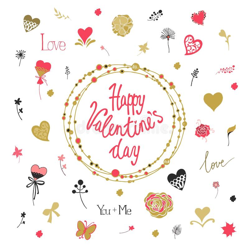 De Dag decoratieve achtergrond van Valentine met harten, bloemen en vlinders Malplaatje voor groetkaart, huwelijk stock illustratie