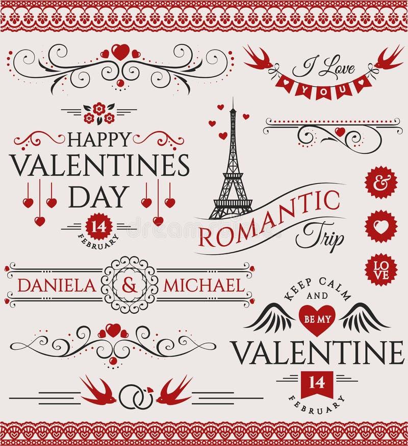 De Dag en het huwelijksontwerpelementen van Valentine ` s vector illustratie