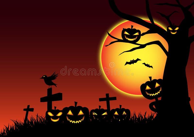 De dag feestelijke achtergrond van pompoenhalloween, het beeldverhaal van de spooknachtmerrie vector illustratie