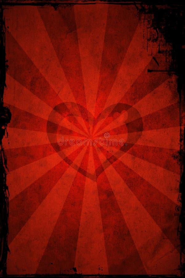 De dag grunge hart van de valentijnskaart stock illustratie
