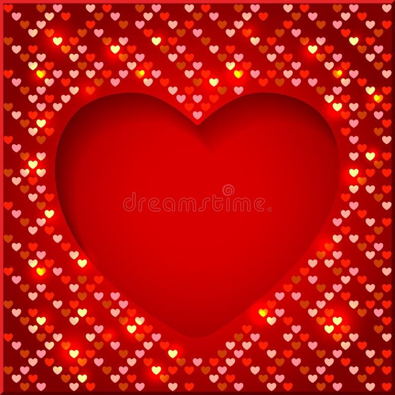 De Dag helder kader van Valentine met glanzende harten royalty-vrije illustratie