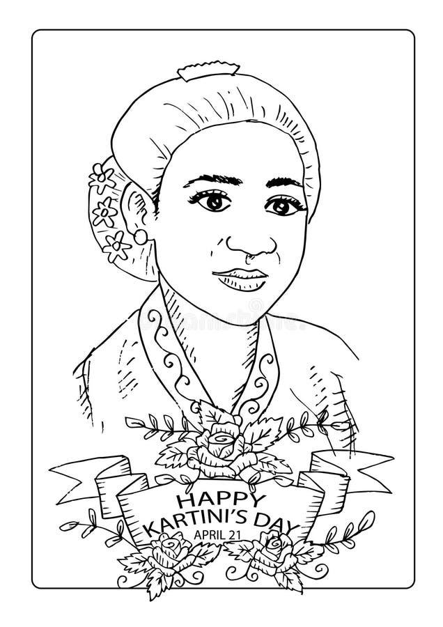 De Dag kleurende pagina van Kartini Kartinidag, R een Kartini de helden van vrouwen en rechten van de mens in Indonesi? 21 April vector illustratie