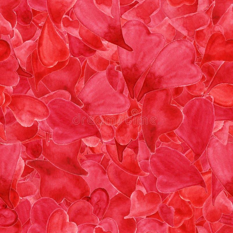De Dag naadloos patroon van Heilige Valentine ` s van waterverf rood harten stock illustratie