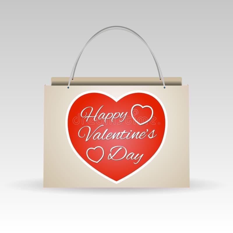 De dag rode document van valentijnskaarten het winkelen zak vector illustratie