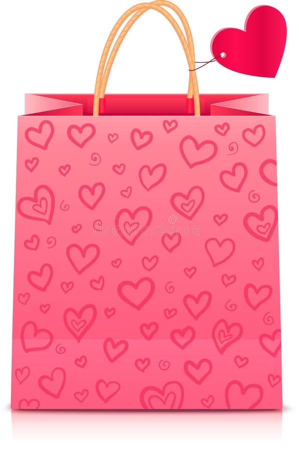 De dag rore document van valentijnskaarten het winkelen zak stock illustratie