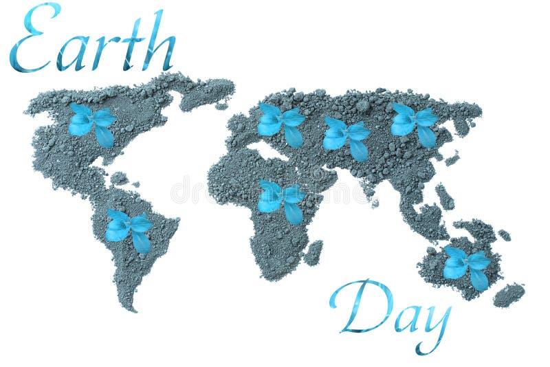 De Dag van de aarde Conceptenecologie Wereldkaart, bol van de grond met groene die installaties rond de wereld op witte achtergro royalty-vrije stock fotografie