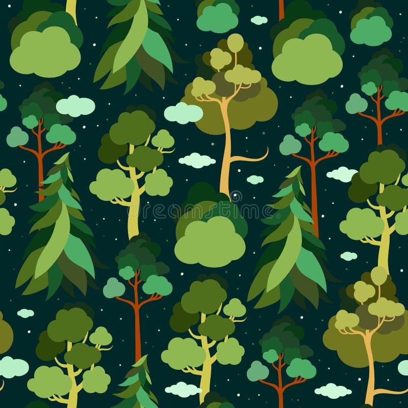 De Dag van de aarde Naadloos patroon met bomen en wolken op de achtergrond van de sterrige hemel Pijnboom, sparren, linde, berk vector illustratie