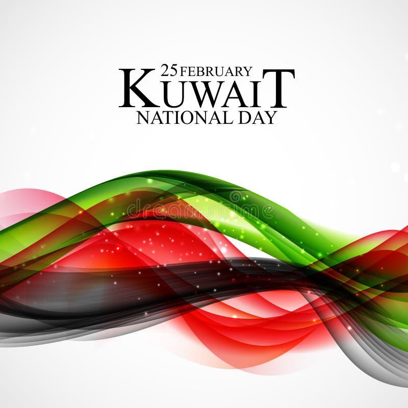 25 de dag van achtergrond februari Koeweit nationaal Malplaatjeontwerp voor kaart, banner, affiche of vlieger Vector illustratie stock illustratie
