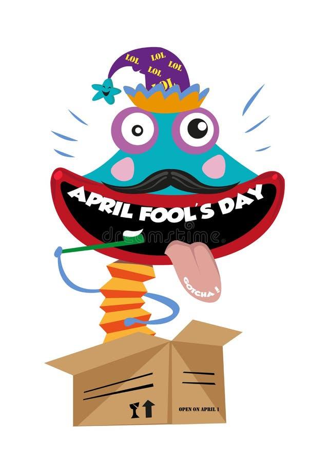 De Dag van April Fool of de Dagtekstwoorden van Al Dwaas als Tanden Punchline van een Clown Toy Character Springing Up van een Va vector illustratie
