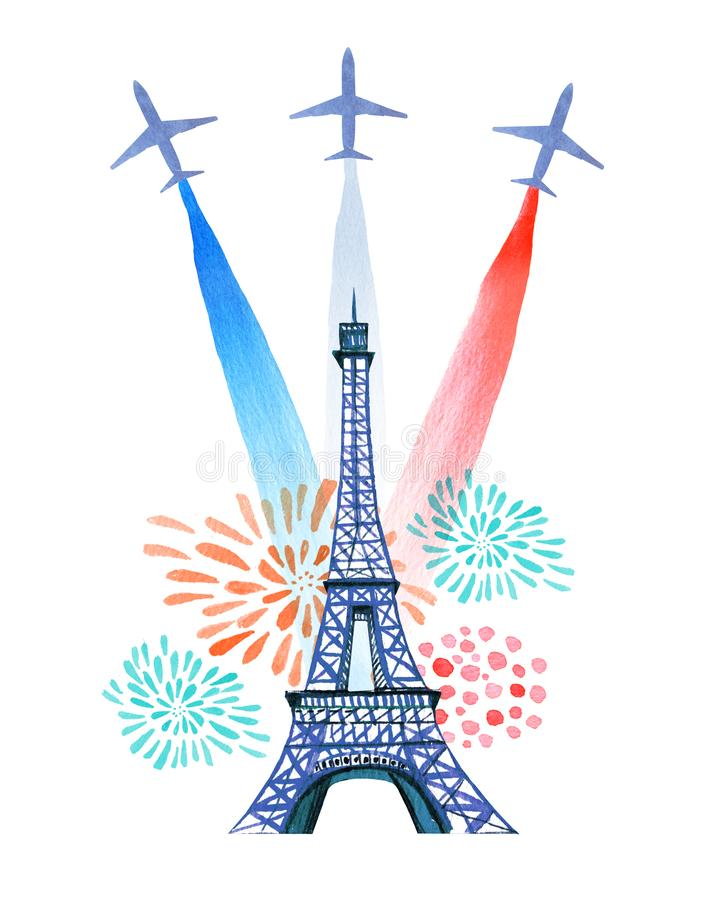De Dag van Bastille Frans Nationaal de kaart en de afficheontwerp van de daggroet Hand getrokken waterverfillustratie met de tore stock illustratie