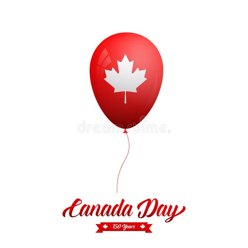 De Dag van Canada Glanzende ballon met Canadees Esdoornblad en typografie vector illustratie