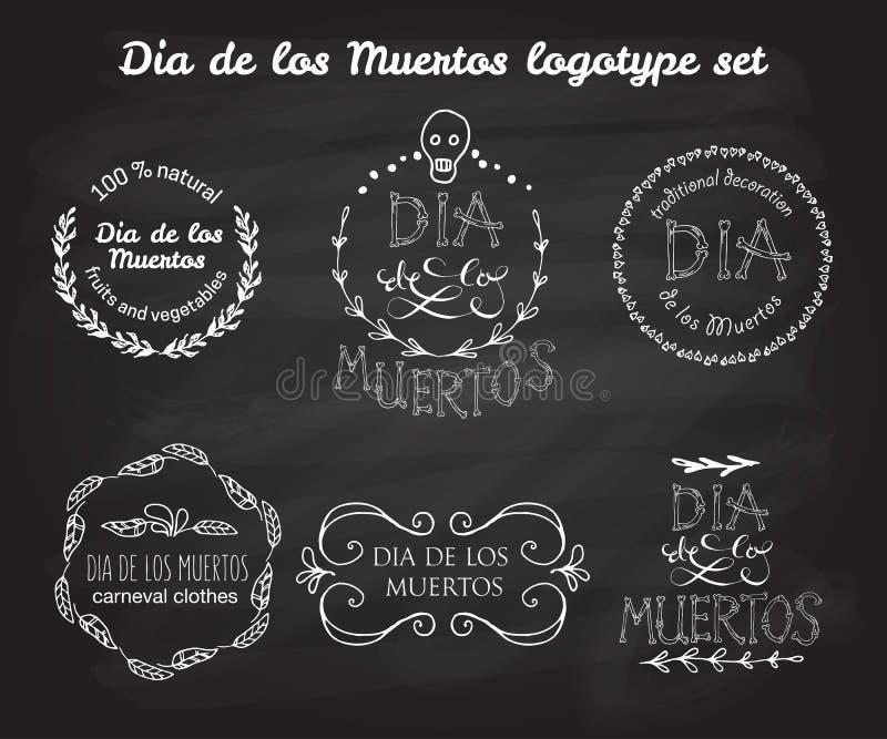 De dag van de dode vector logotype plaatste vector illustratie