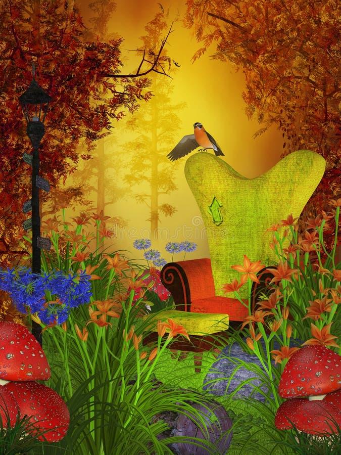 De dag van de fantasieherfst in het bos vector illustratie