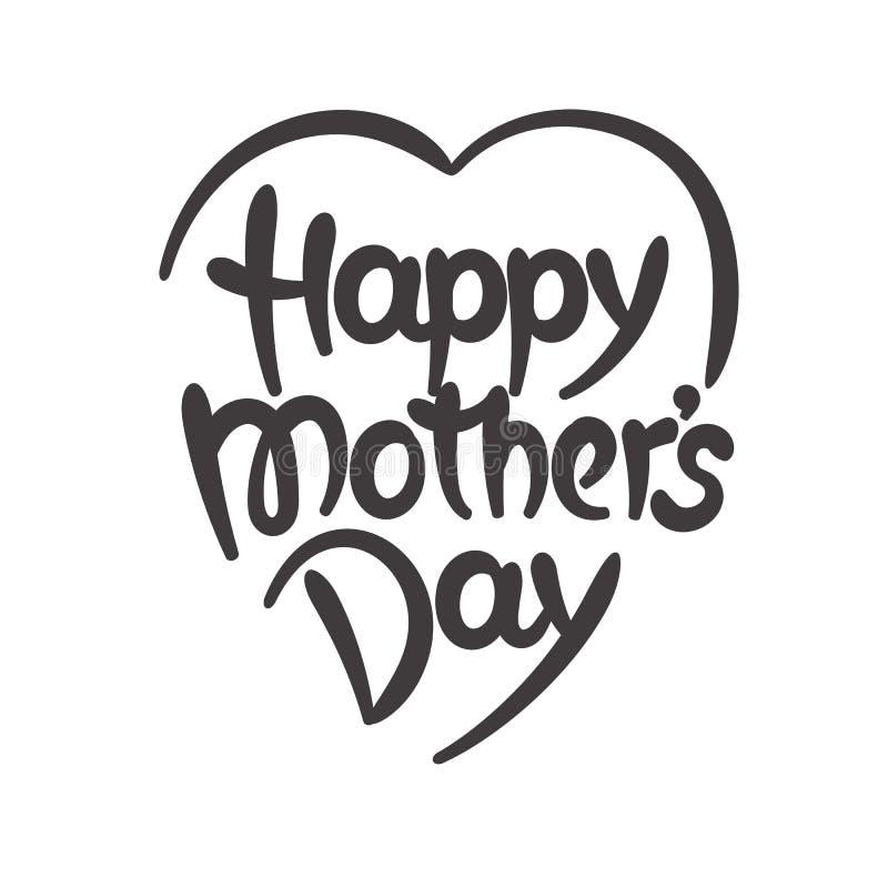 De dag van de gelukkige moeder het hand-drawn van letters voorzien vector illustratie