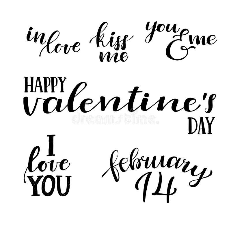De dag van de gelukkige Valentijnskaart Hand die uitstekende citaten van letters voorzien vector illustratie