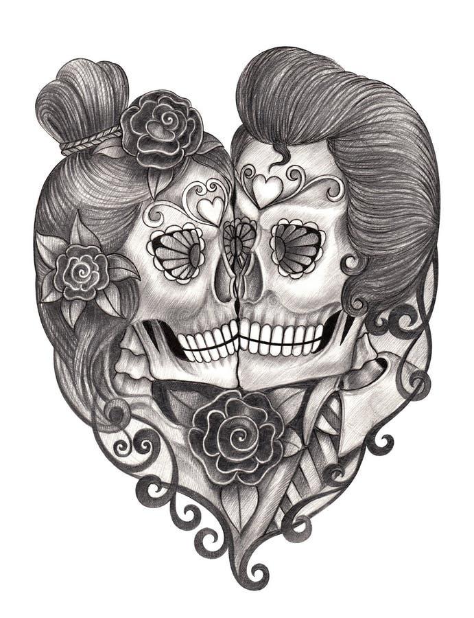 De dag van de kunstschedel van de doden stock illustratie