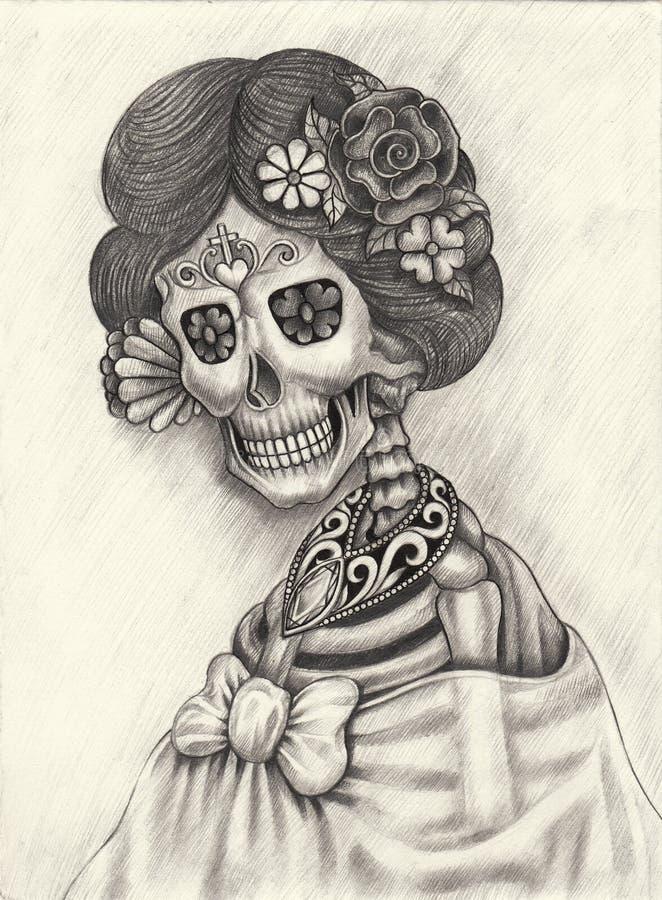 De dag van de kunstschedel van de doden vector illustratie