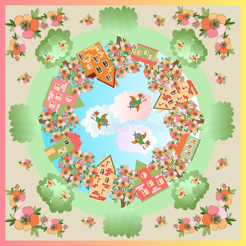 De dag van de lente Kaart met een mooie die stad door bloeiende bomen wordt omringd stock illustratie