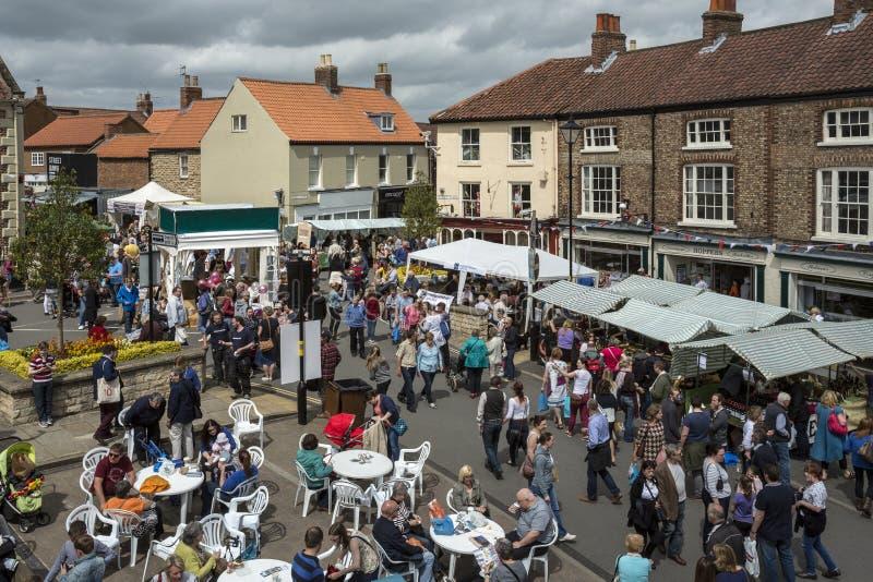 De Dag van de markt - Malton - Yorkshire - Engeland stock foto