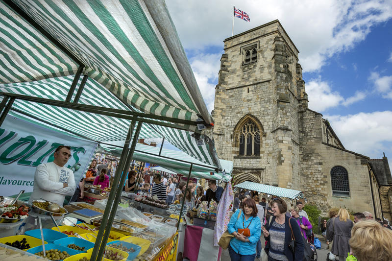 De Dag van de markt - Malton - Yorkshire - Engeland royalty-vrije stock afbeelding